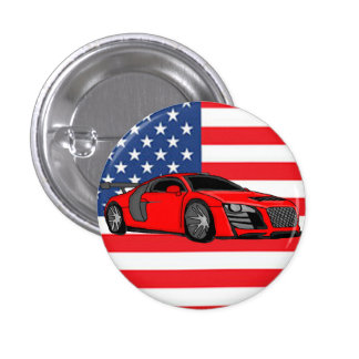 Awesome racing car 1 inch round button