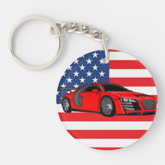 Awesome racing car Double-Sided round acrylic keychain