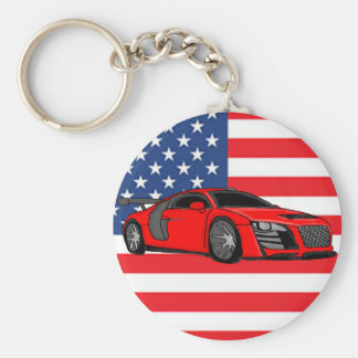 Awesome racing car basic round button keychain