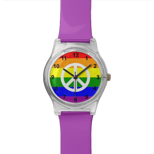 Awesome Rainbow and Peace sign Wrist Watches