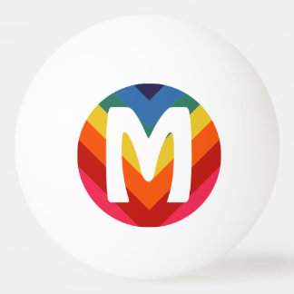 Awesome Retro Rainbow Ping Pong Ball Monogram