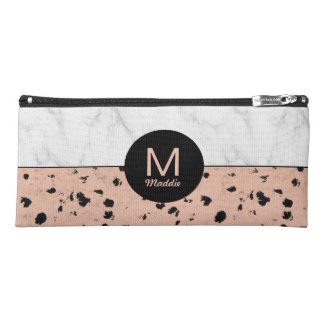 Awesome Rose Gold and Marble Pattern with Monogram Pencil Case