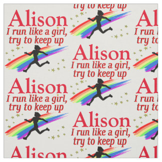 AWESOME RUN LIKE A GIRL PERSONALIZED FABRIC