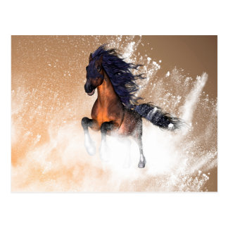 Awesome running horse with blue mane postcard