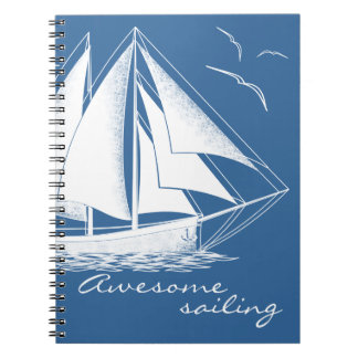 Awesome sailing, nautical spiral notebook