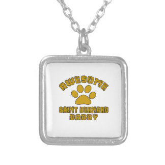 AWESOME SAINT BERNARD DADDY SILVER PLATED NECKLACE