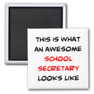 awesome school secretary square magnet
