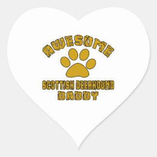 AWESOME SCOTTISH DEERHOUND DADDY HEART STICKER