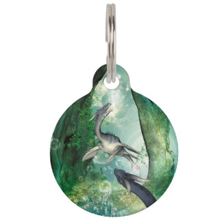 Awesome seadragon in a fantasy underwater world pet ID tag