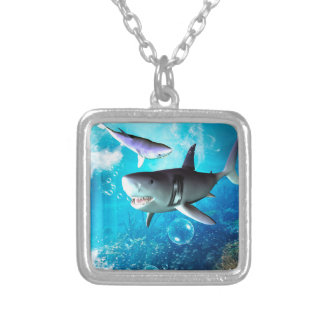 Awesome shark with bubbles silver plated necklace