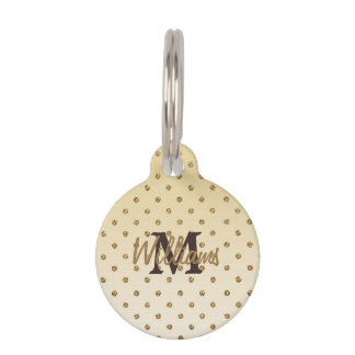Awesome shining faux glitter gold polka dots pet tag