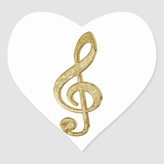 Awesome shining gold bar effects treble clef music heart sticker