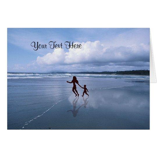 Awesome Silhouette of Mother & Son at the Beach Card