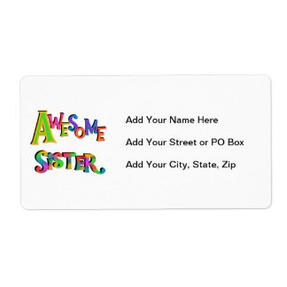 Awesome Sister T-shirts and Gifts Shipping Label
