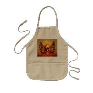 Awesome skull with wonderful roses and wings kids apron