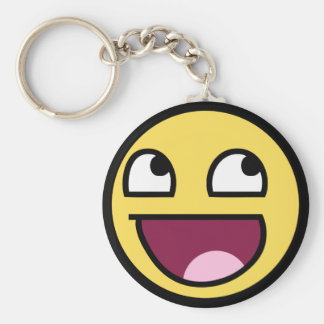 awesome smiley face awesome face basic round button keychain