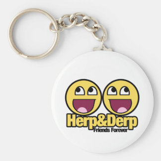 Awesome Smiley Herp and Derp Keychain