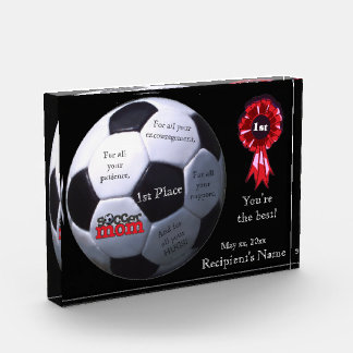 Awesome Soccer Mom First Place Acrylic Block Award