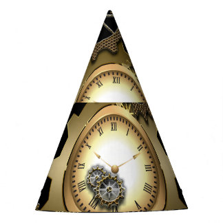 Awesome steampunk design with clocks and gears party hat
