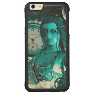 Awesome steampunk lady in the universe carved maple iPhone 6 plus bumper case