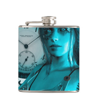 Awesome steampunk lady in the universe hip flask