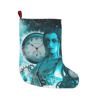 Awesome steampunk lady in the universe large christmas stocking