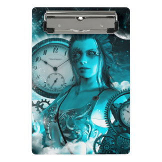 Awesome steampunk lady in the universe mini clipboard