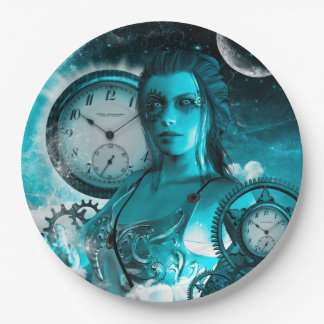 Awesome steampunk lady in the universe paper plate