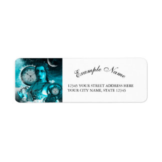 Awesome steampunk lady in the universe return address label