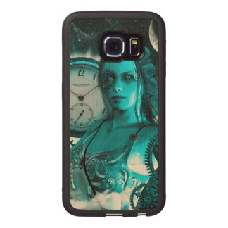 Awesome steampunk lady in the universe wood phone case