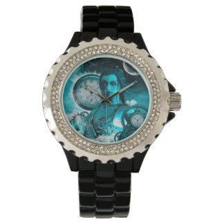 Awesome steampunk lady in the universe wristwatch