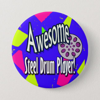 Awesome steel DRUM player 3 Inch Round Button