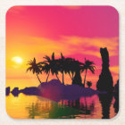 Awesome sunset in pink and gold square paper coaster