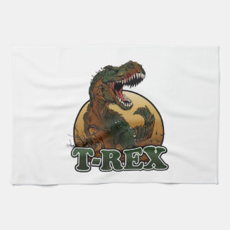 awesome t-rex brown and green illustration hand towels