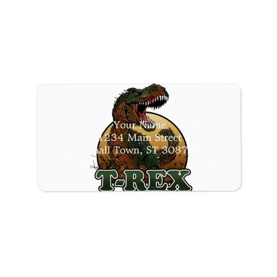 awesome t-rex brown and green illustration label