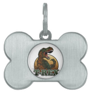 awesome t-rex brown and green illustration pet name tag