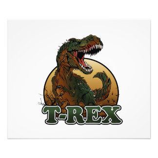 awesome t-rex brown and green illustration photo print