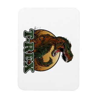 awesome t-rex brown and green illustration rectangular photo magnet