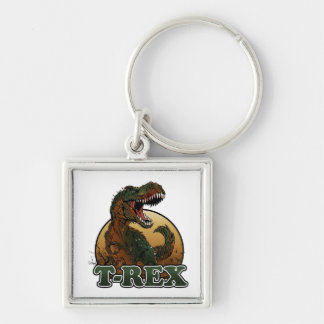 awesome t-rex brown and green illustration Silver-Colored square keychain