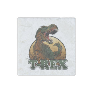 awesome t-rex brown and green illustration stone magnets