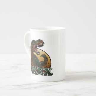 awesome t-rex brown and green illustration tea cup