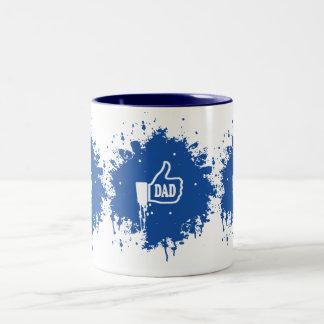 Awesome Thumbs up Like Dad splatter Two-Tone Coffee Mug