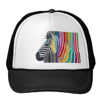 awesome trendy colourful vibrant stripes zebra trucker hat