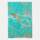 Awesome trendy modern faux gold glitter marble kitchen towel