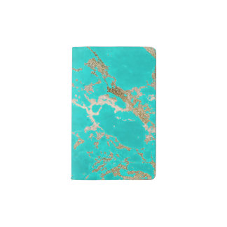 Awesome trendy modern faux gold glitter marble pocket moleskine notebook