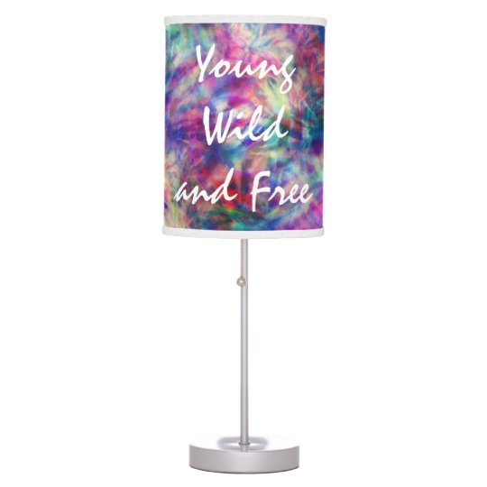 Awesome trendy tribal tie dye young wild and free table lamp