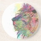 Awesome tribal watercolor lion design coaster