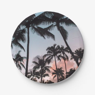 Awesome Tropical Palm Trees Sunset Summer 7 Inch Paper Plate