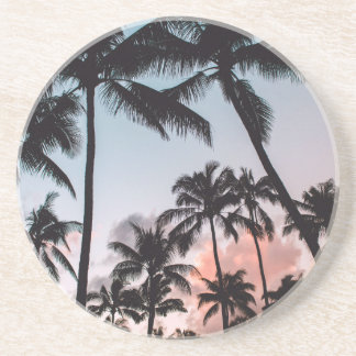 Awesome Tropical Palm Trees Sunset Summer Coaster