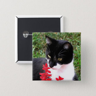 Awesome Tuxedo Cat in Garden 2 Inch Square Button